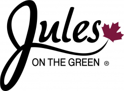 2015 Jules on the Green Logo Black on Maroon
